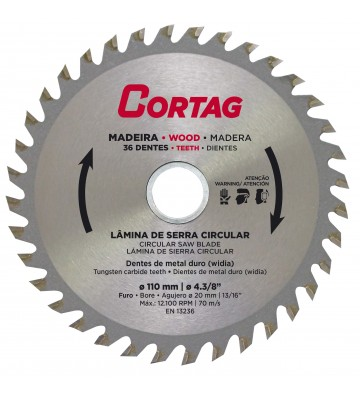 CIRCULAR SAW BLADE FOR WOOD 36 TEETH Ø 110 mm