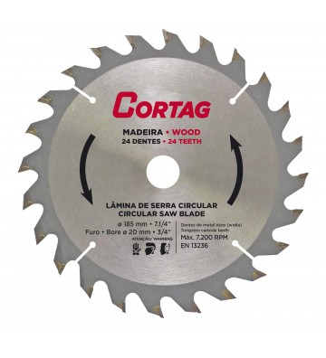 CIRCULAR SAW BLADE FOR WOOD 24 TEETH Ø 185 mm