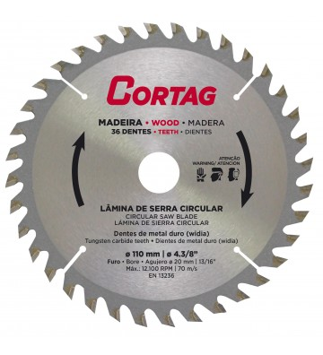 CIRCULAR SAW BLADE FOR WOOD 36 TEETH Ø 185 mm