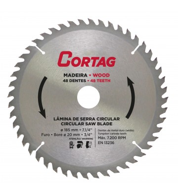 CIRCULAR SAW BLADE FOR WOOD 48 TEETH Ø 185 mm