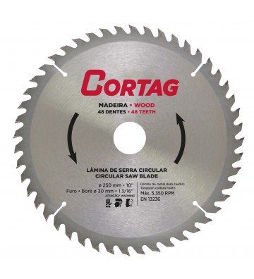 CIRCULAR SAW BLADE FOR WOOD 48 TEETH Ø 250 mm