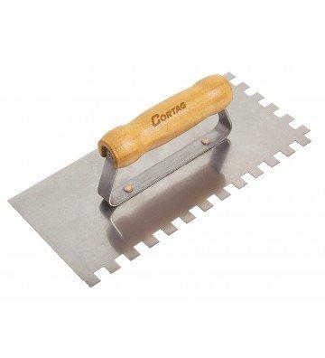 Trowel, Metal -  10 x 10 mm 26 CM - Wooden Handle